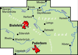 Blattschnitt der ADFC Regionalkarte und Fahrradkarte Ostwestfalen